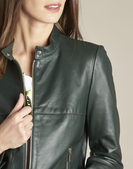 Tibo short dark green leather jacket (3) - 1-2-3