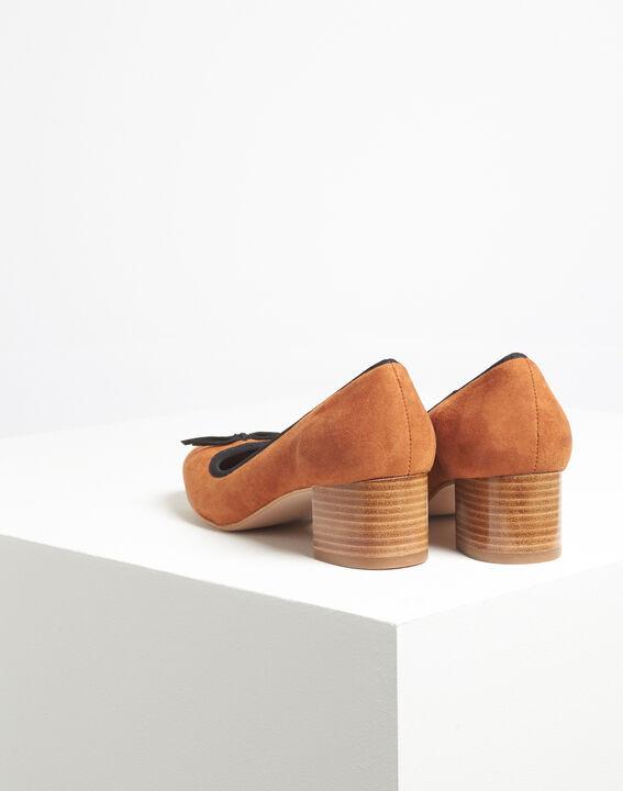 Camel pumps met suède-effect en vierkante hakken Kalista (4) - Maison 123