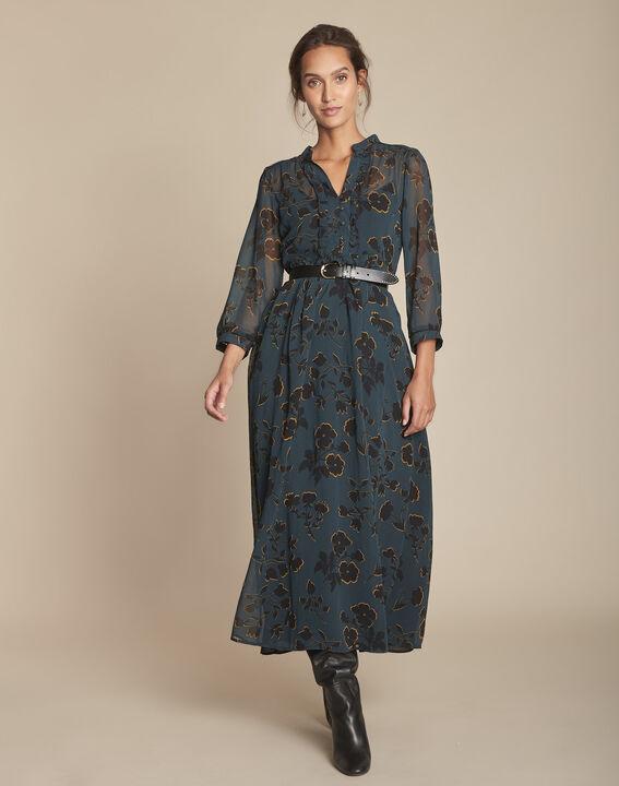 Langes, zypressengrünes Kleid mit Printmuster Ivanie PhotoZ | 1-2-3