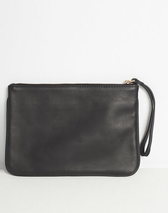 Delly embroidered clutch with black leather straps black.