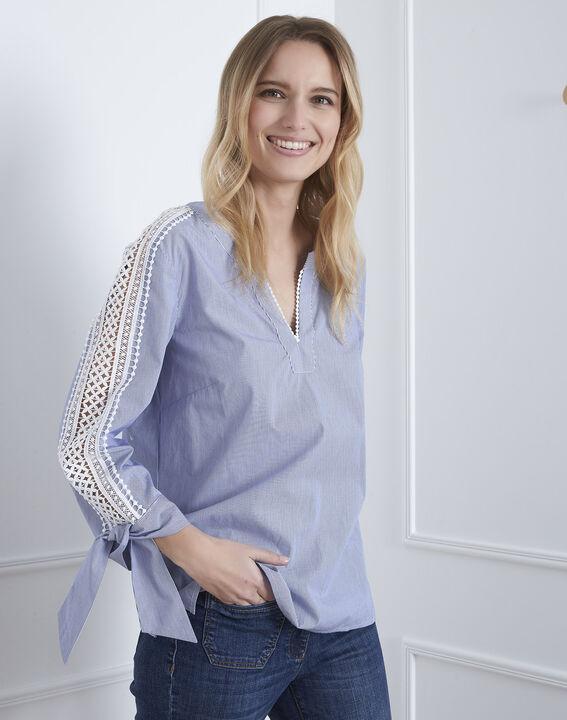 Hemelsblauwe blouse met macramé Vike (1) - Maison 123