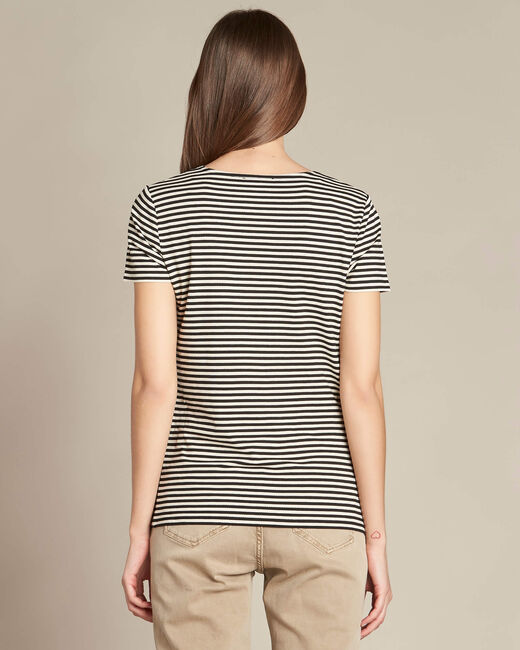 Emoi striped ecru T-shirt with lace neckline (1) - 1-2-3