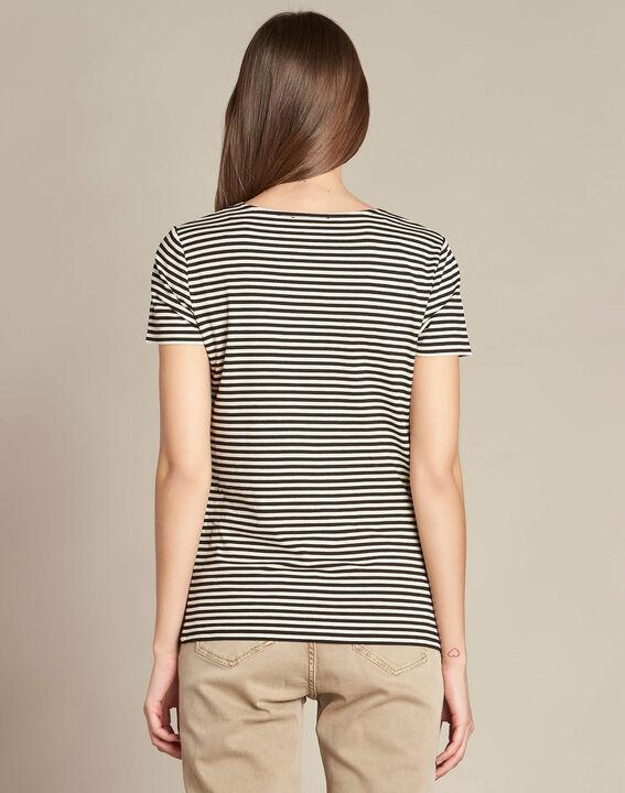 Emoi striped ecru T-shirt with lace neckline PhotoZ   1-2-3