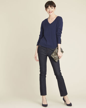 Beth navy cotton mix pullover with narrow v-neckline royal blue.