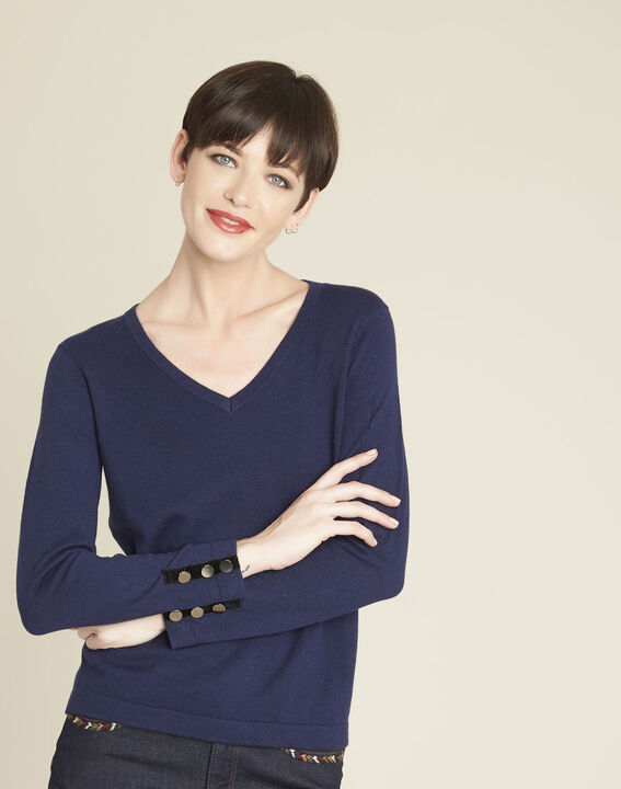 Beth navy cotton mix pullover with narrow V-neckline (1) - 1-2-3