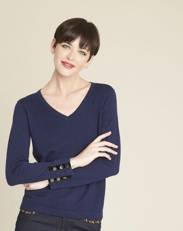 Donkerblauwe trui met V-hals van gemengd katoen Beth (1) - 37653
