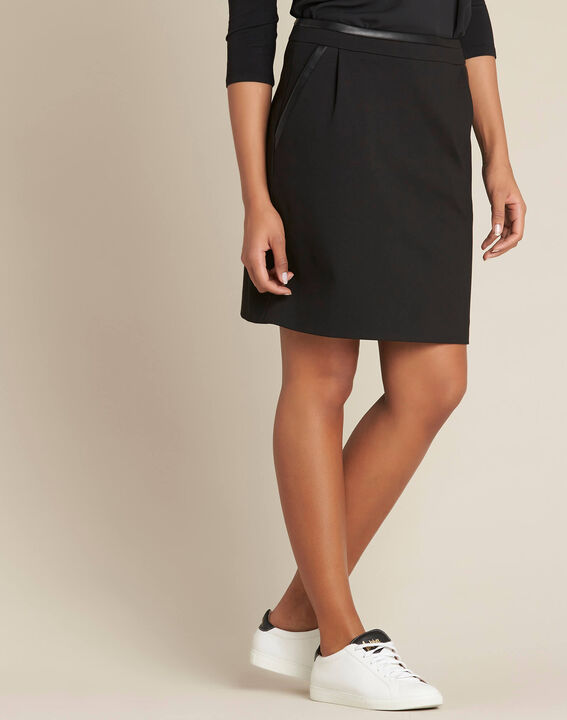Leslie black straight-cut skirt with faux-leather detailing (3) - 1-2-3