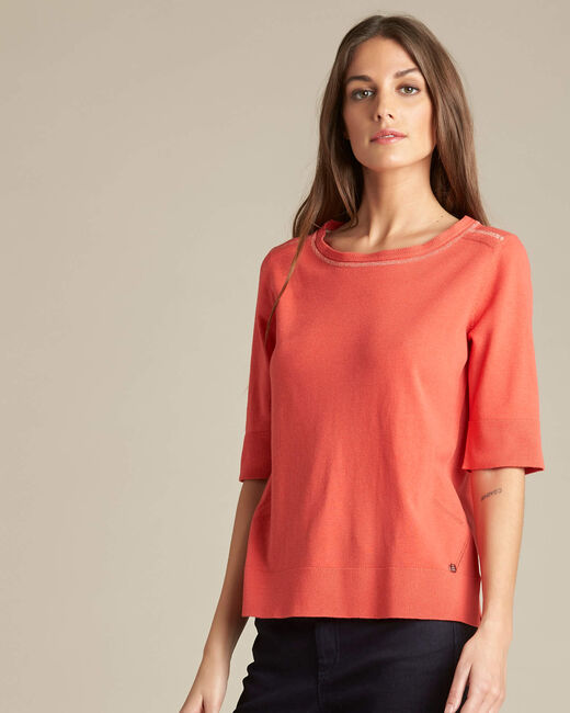 Nevada coral short-sleeved sweater in wool and silk (2) - 1-2-3