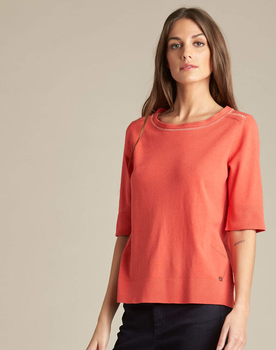 Nevada coral short-sleeved sweater in wool and silk (3) - 1-2-3