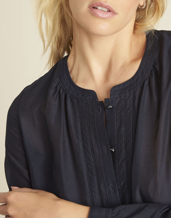 Camille cotton and silk printed blouse in navy (2) - 1-2-3