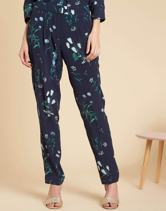 Douglas navy printed flowing trousers (3) - 1-2-3