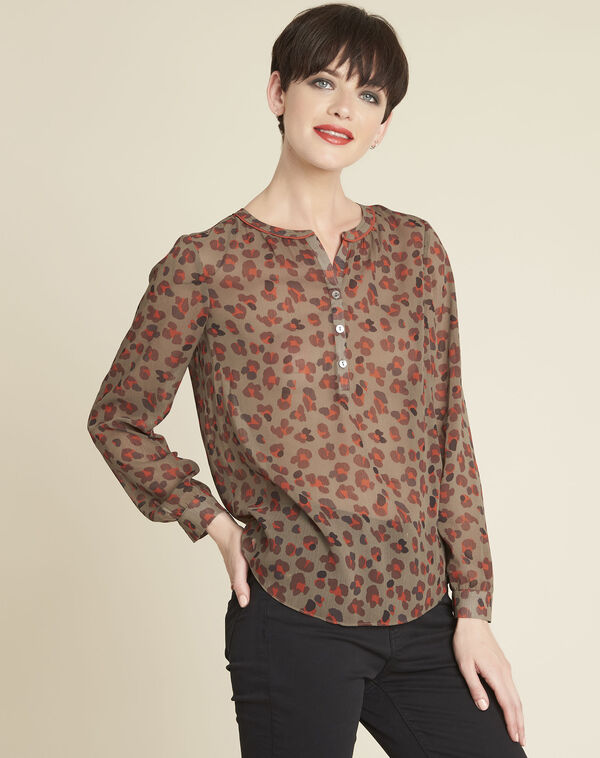 Candy animal print khaki blouse (1) - 1-2-3