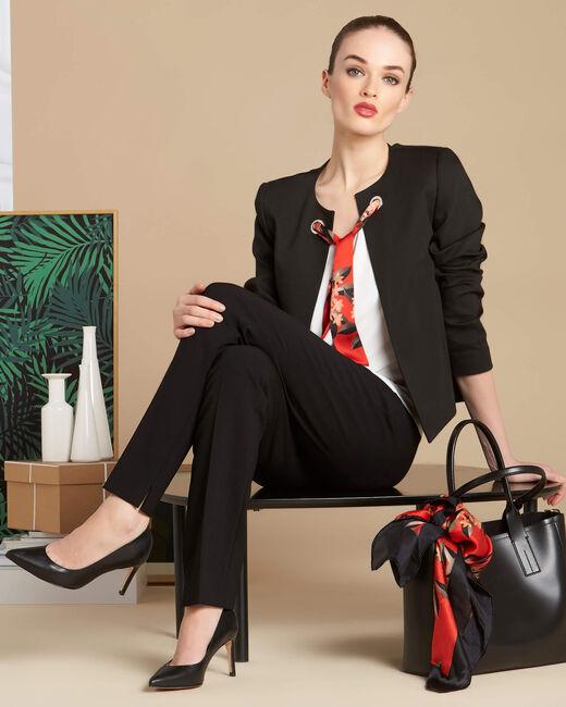 Kurze schwarze Jacke mit Bindeband Calice (1) - 1-2-3