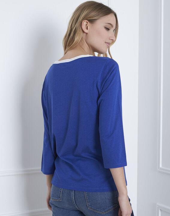 Tee-shirt bleu sérigraphé brodé Punta Cana (4) - Maison 123