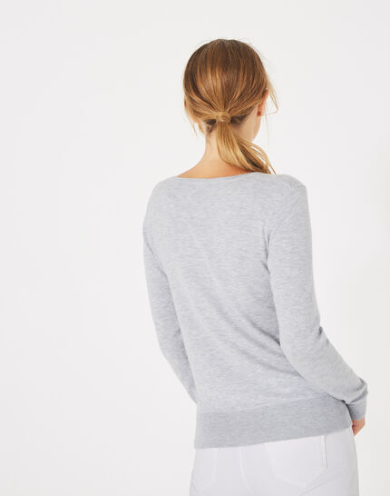 Planète marl, light grey sweater with V-neck and diamante (4) - 1-2-3