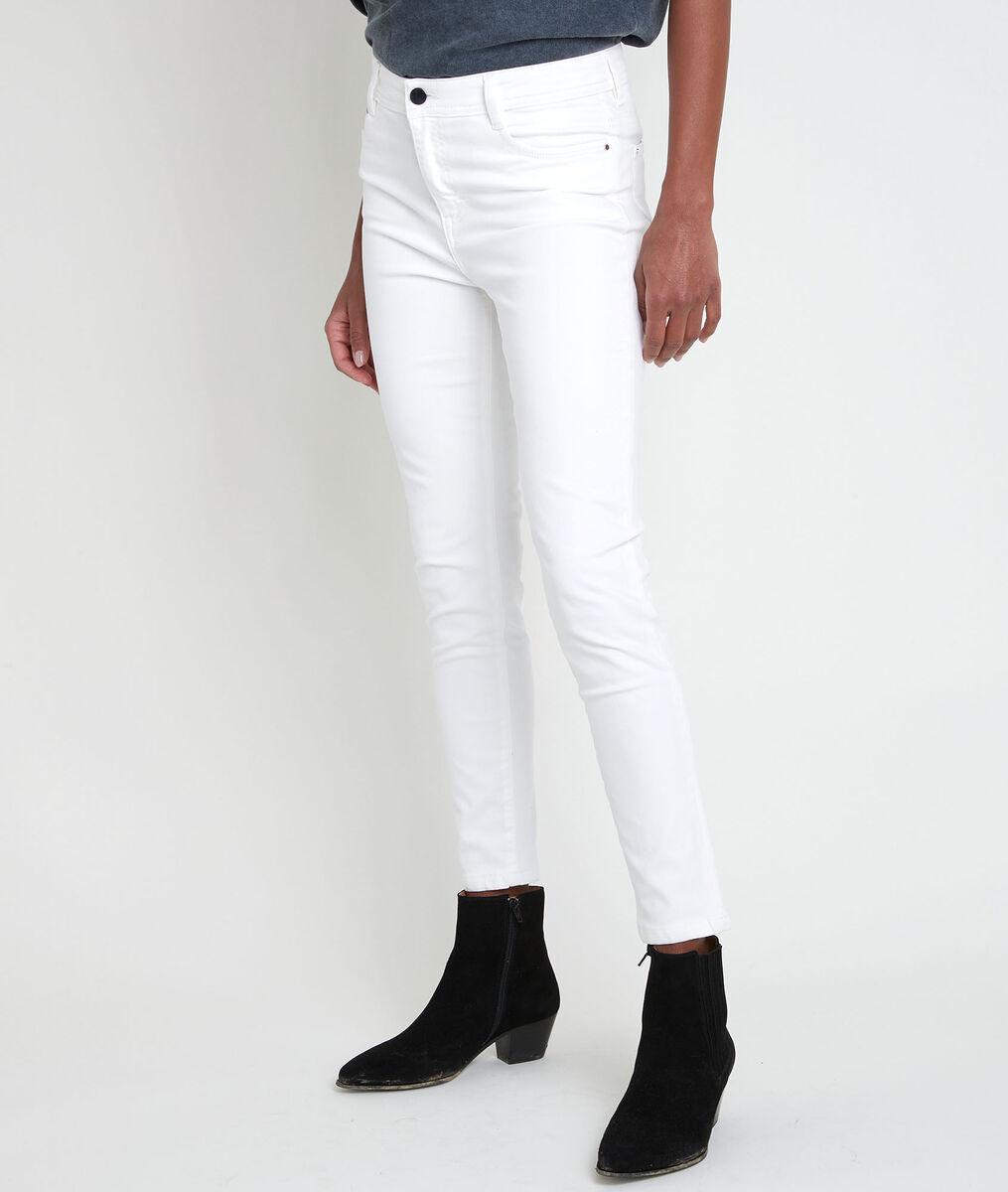 L'iconique slim jean satin de coton biologique écru Sultan PhotoZ | 1-2-3