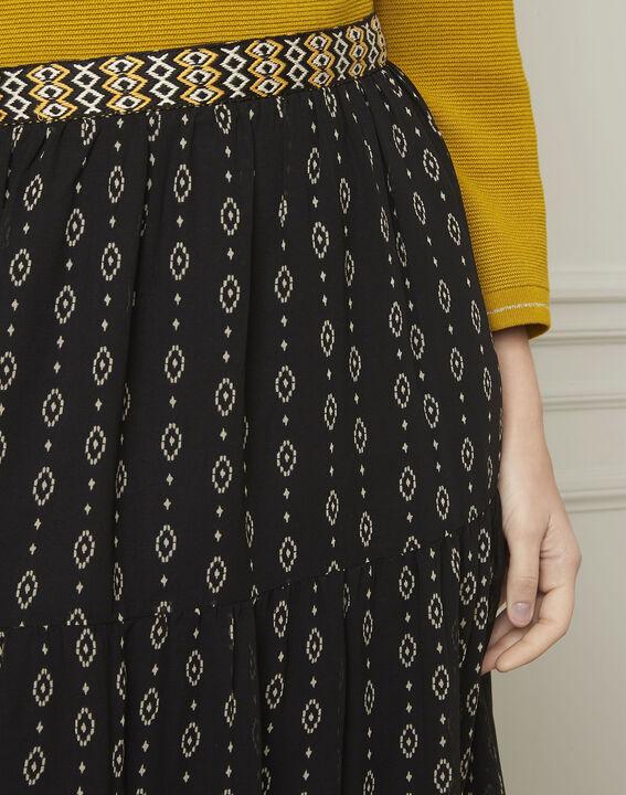 Schwarzer Rock mit ausgefallenem Druckmuster Suzie (4) - Maison 123