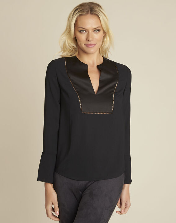 Carole black blouse with decorative neckline PhotoZ | 1-2-3