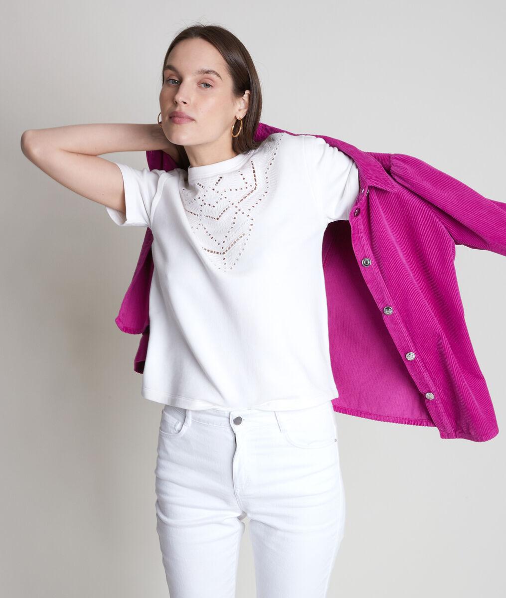 Tee-shirt en coton épais et broderies blanc Elsa PhotoZ   1-2-3