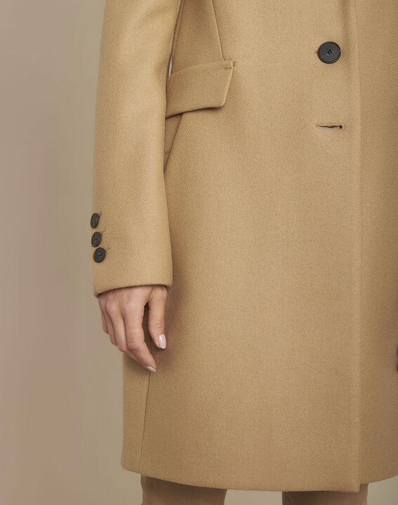 Manteau beige en laine mélangée Plume (3) - 1-2-3