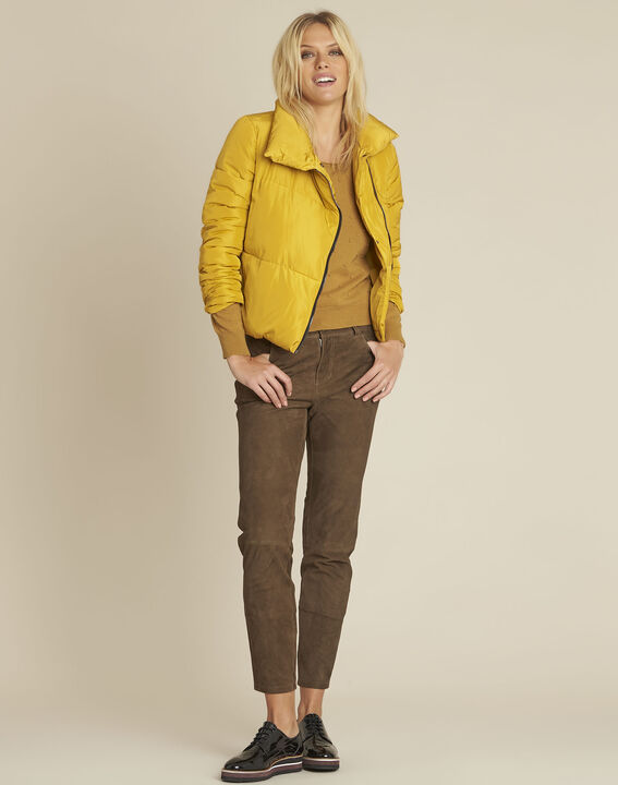 Poline short yellow down jacket with side zip (2) - Maison 123