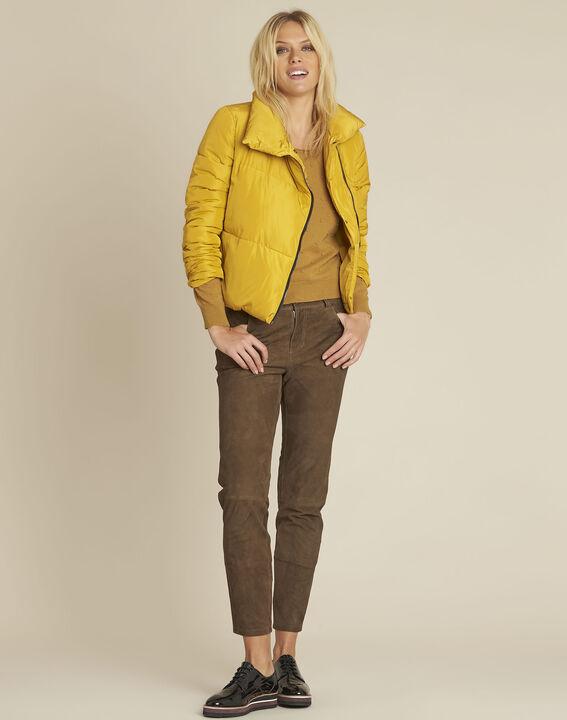 Doudoune courte jaune zip côté Poline (2) - 1-2-3