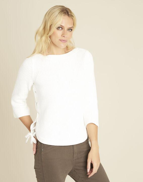 Naturweißer Pullover mit seitlichen Schnürdetails Becot (1) - 1-2-3