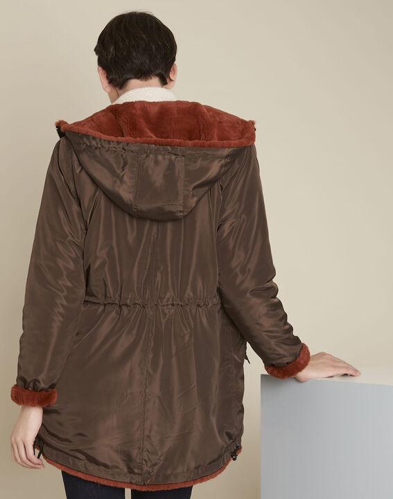 Eloan dark brown reversible faux fur parka (5) - 1-2-3