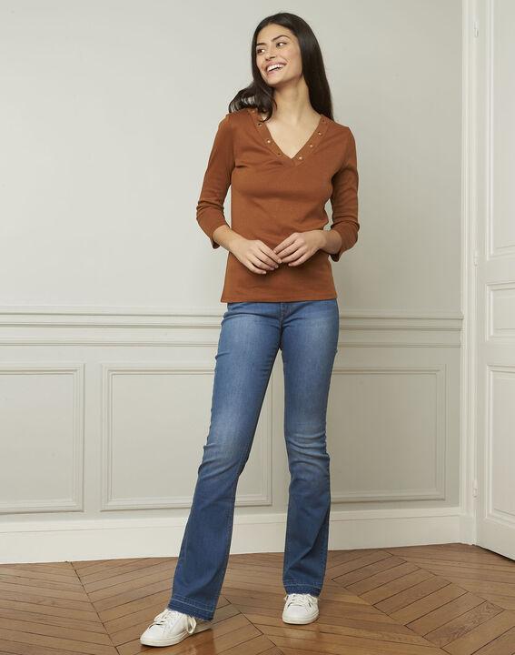 Braunes T-Shirt mit V-Ausschnitt mit Ösen Basic (2) - Maison 123