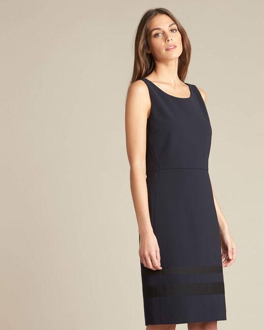 Abricot microfibre straight-cut navy dress (2) - 1-2-3