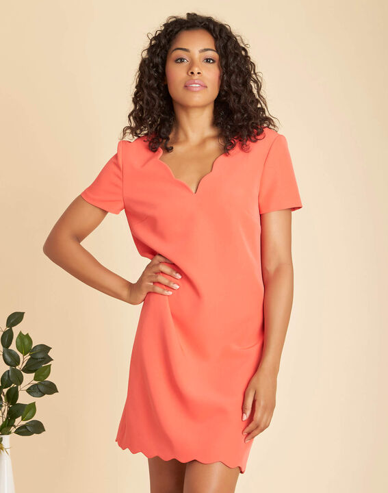 Indira straight-cut coral crepe dress (3) - 1-2-3