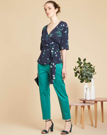 Danielle navy blue blouse with floral print and cross-over neckline navy.