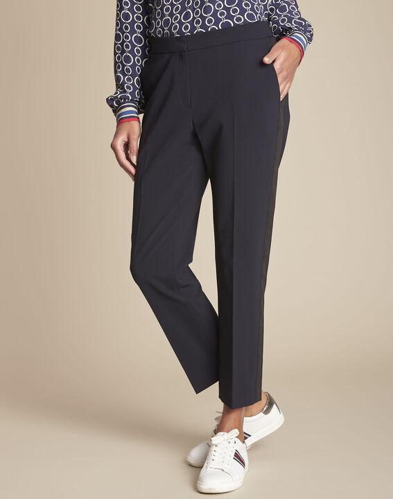 Pantalon de tailleur marine et sa bande latérale Suzanne PhotoZ | 1-2-3