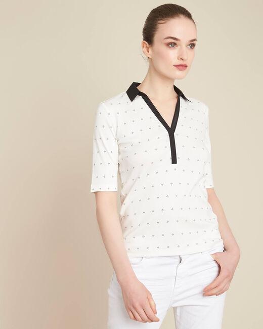 Tee-shirt col chemisier écru imprimé Bowling (2) - 1-2-3