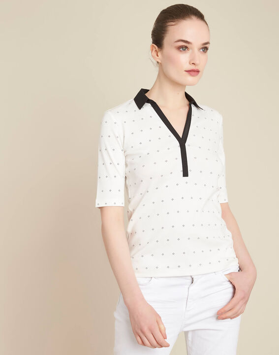 Ecrufarbenes Print-T-Shirt mit Hemdkragen Bowling (3) - 1-2-3