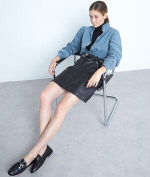 Mini jupe ceinturée en cuir noir Federica