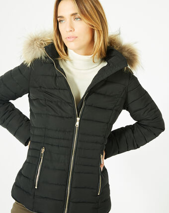 Rosie short black puffer jacket with a hood  black.