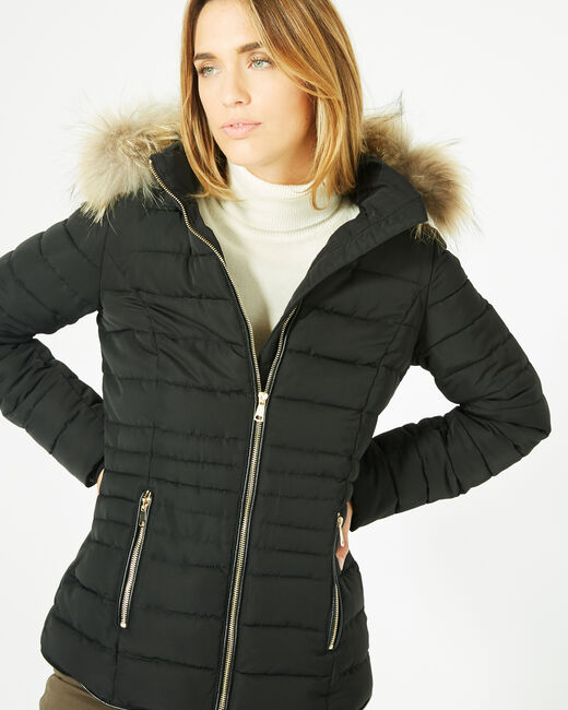 Rosie short black puffer jacket with a hood  (1) - 1-2-3
