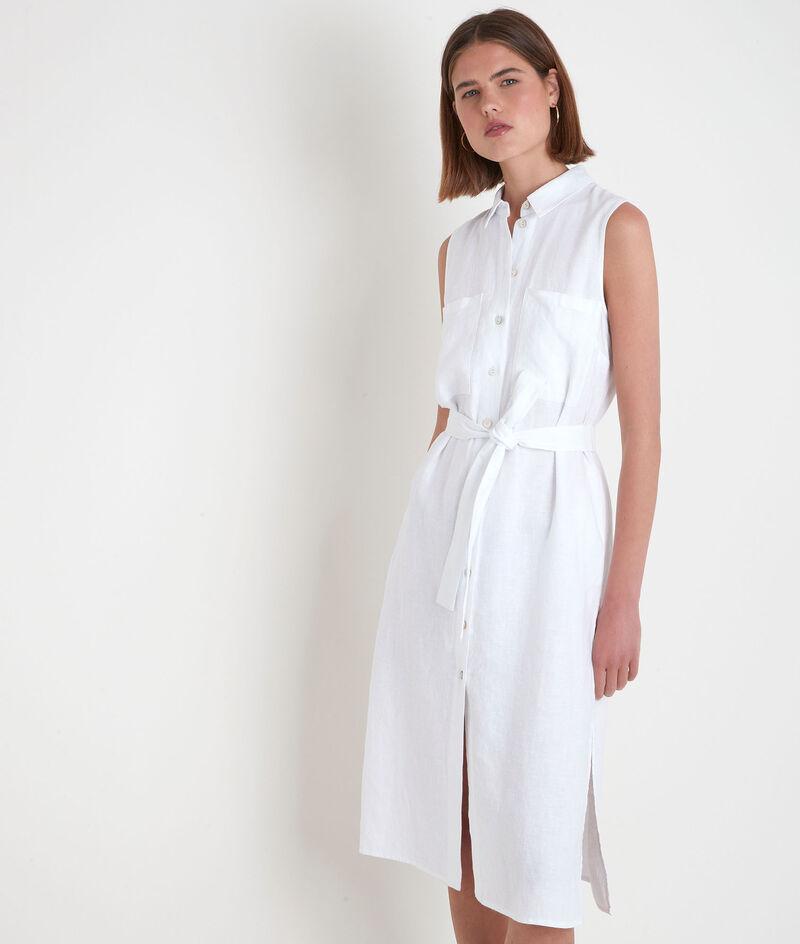 Ärmelloses Hemdkleid aus zertifiziertem Bio-Leinen weiß Cyrielle PhotoZ | 1-2-3
