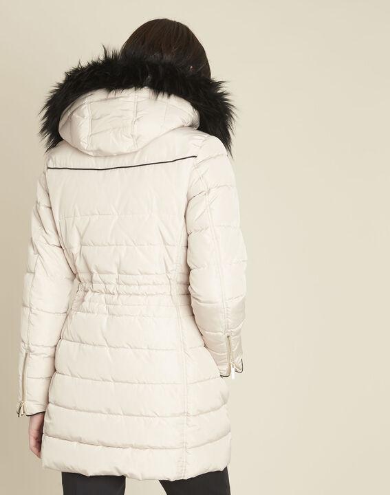 Perrine beige faux fur hooded down jacket (4) - 1-2-3