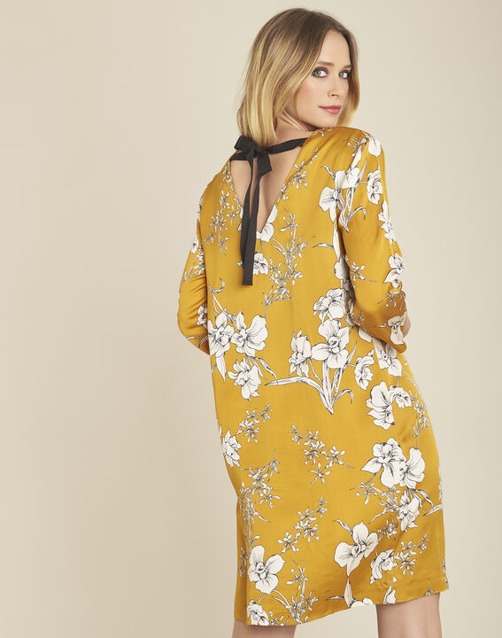 Narma yellow floral printed dress with tie at the back (4) - 1-2-3