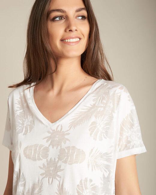 Ecrufarbenes T-Shirt mit Palmenprint Eflore (1) - 1-2-3