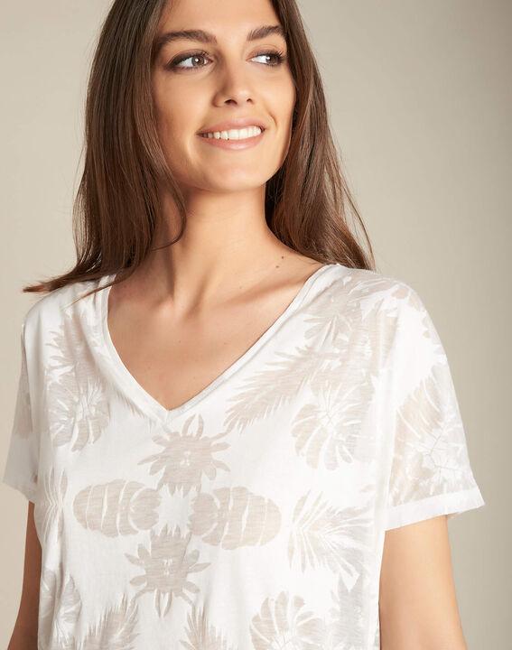 Eflore ecru T-shirt with palm print PhotoZ | 1-2-3