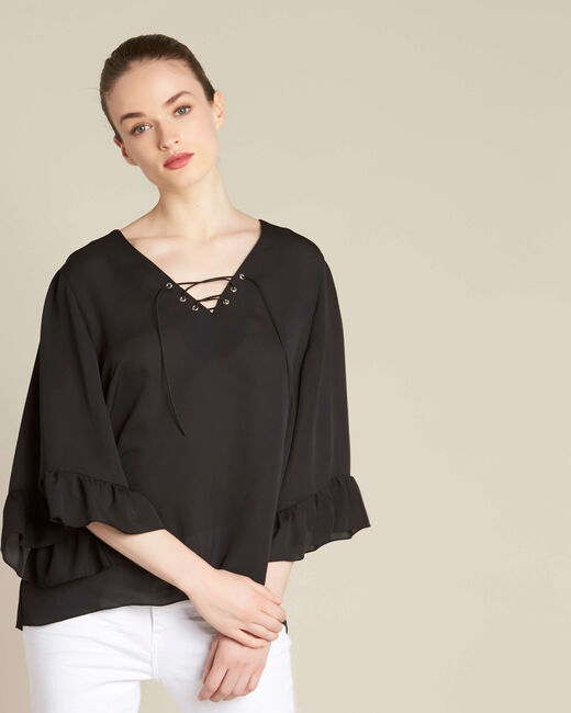 Dora black blouse with eyelets and lacing on the neckline (2) - 1-2-3
