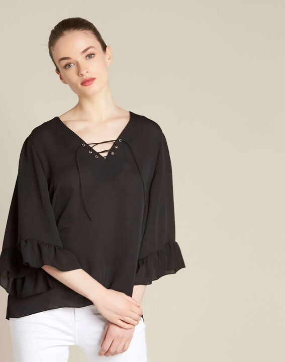 Dora black blouse with eyelets and lacing on the neckline (3) - 1-2-3