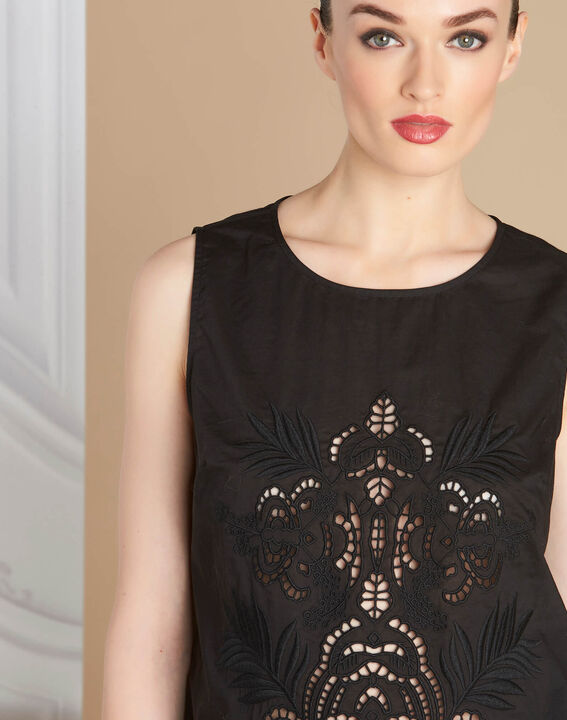 Genat embroidered black sleeveless top PhotoZ | 1-2-3