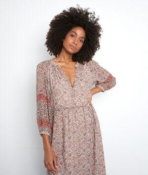 Oudroze lange jurk met print Satine