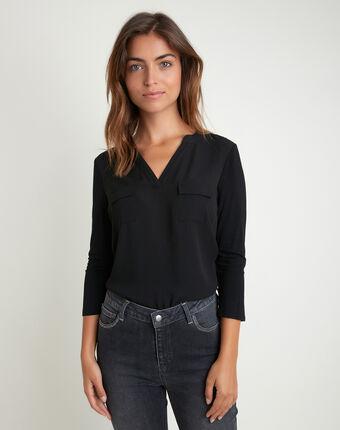 Zwarte blouse uit twee materialen met zakken genna noir.