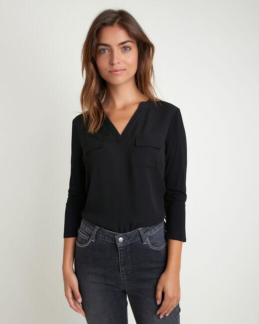 Schwarze Bluse im Materialmix mit Taschen Genna (2) - 1-2-3