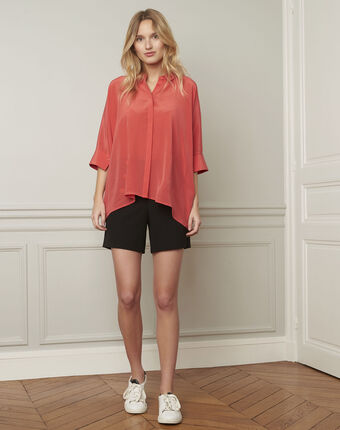Vania coral flared silk blouse raspberry.